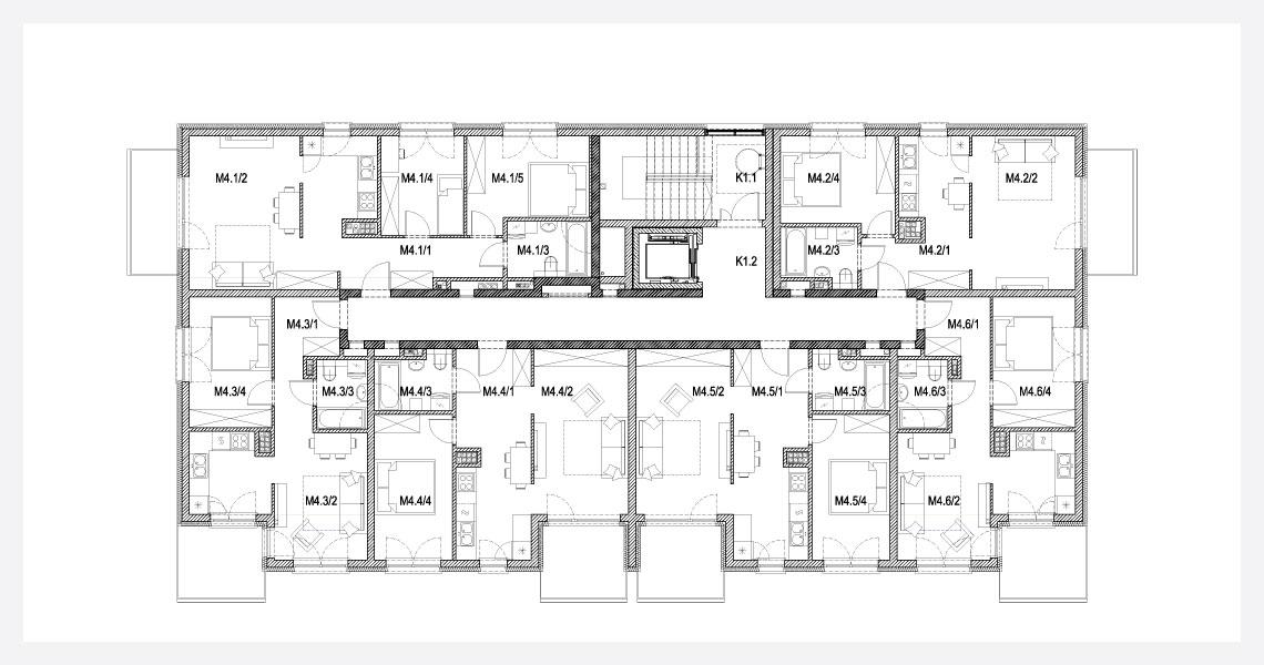 Rzut kondygnacji pietro-4 w budynek-4